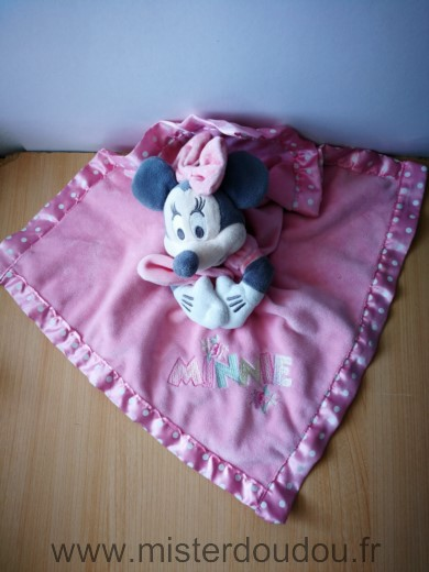 Doudou Souris Disney Minnie mouchoir rose liseret rose points blanc