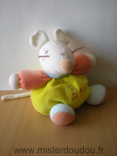 Doudou Souris Kaloo Jaune orange blanc 123