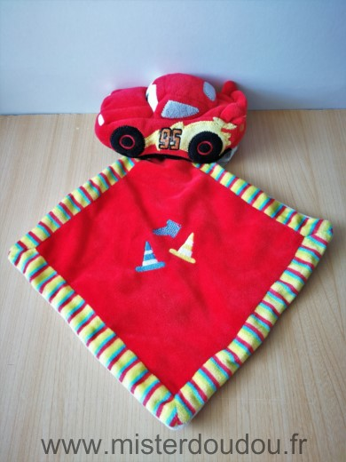 Doudou Voiture Disney Voiture cars rouge mouchoir rouge rayures