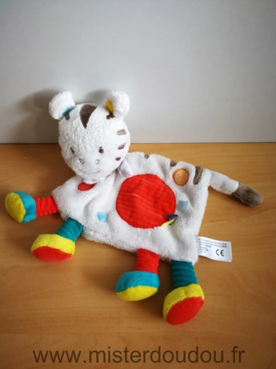 Doudou Zébre Nicotoy Blanc rond rouge